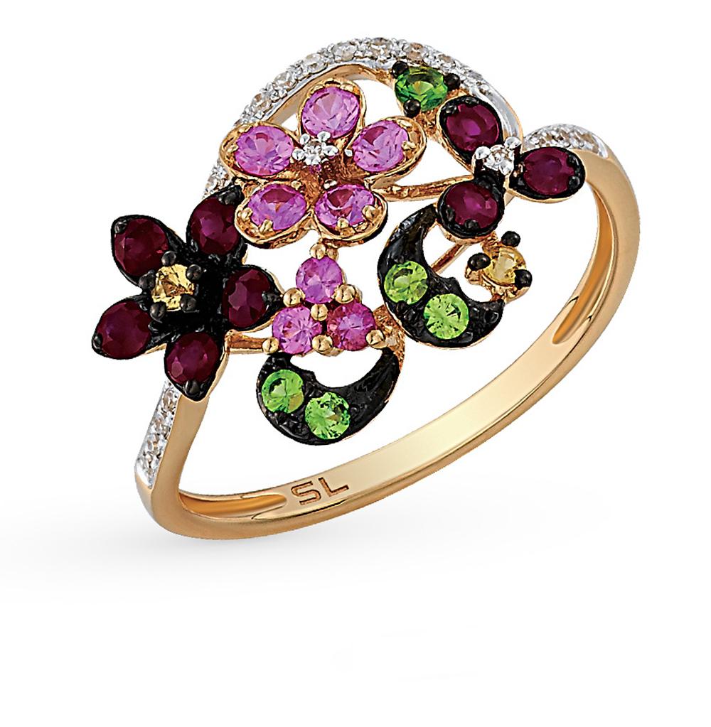 Фото «золотое кольцо с гранатом, рубинами, сапфирами и бриллиантами»