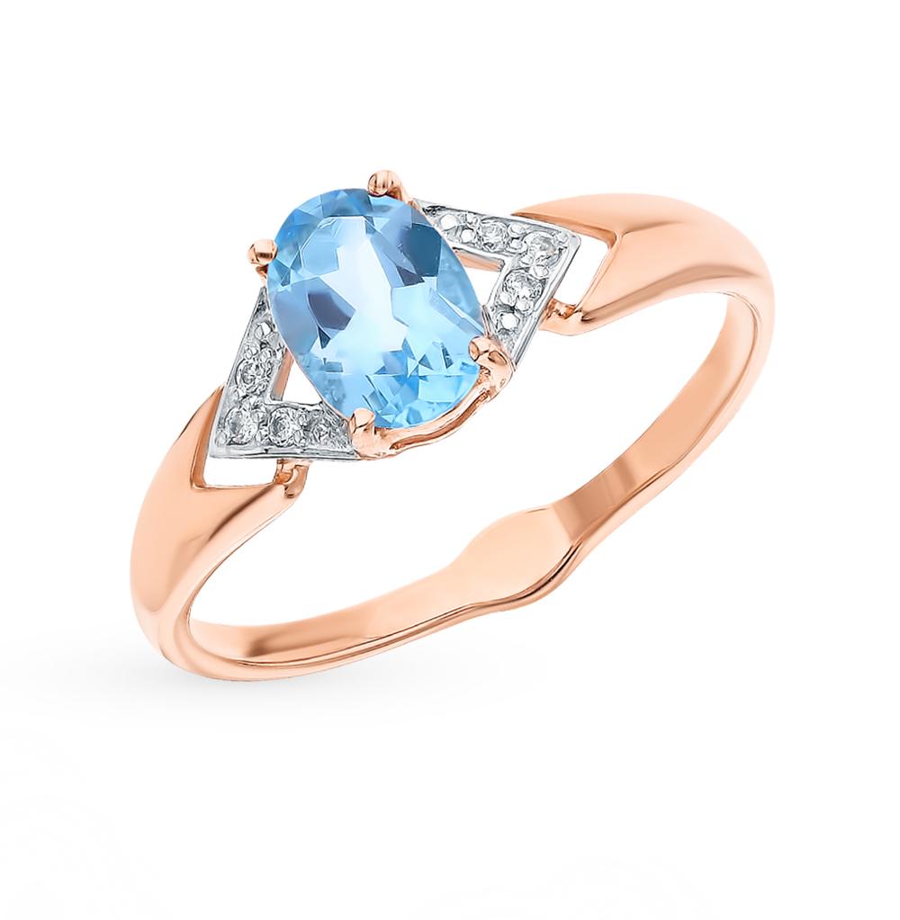 Фото «Золотое кольцо с топазами и фианитами SOKOLOV 715505»