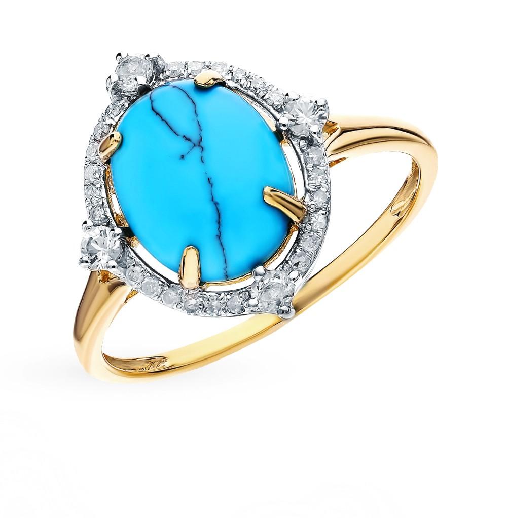 Золотое кольцо с сапфирами, бирюзой и бриллиантами в Екатеринбурге
