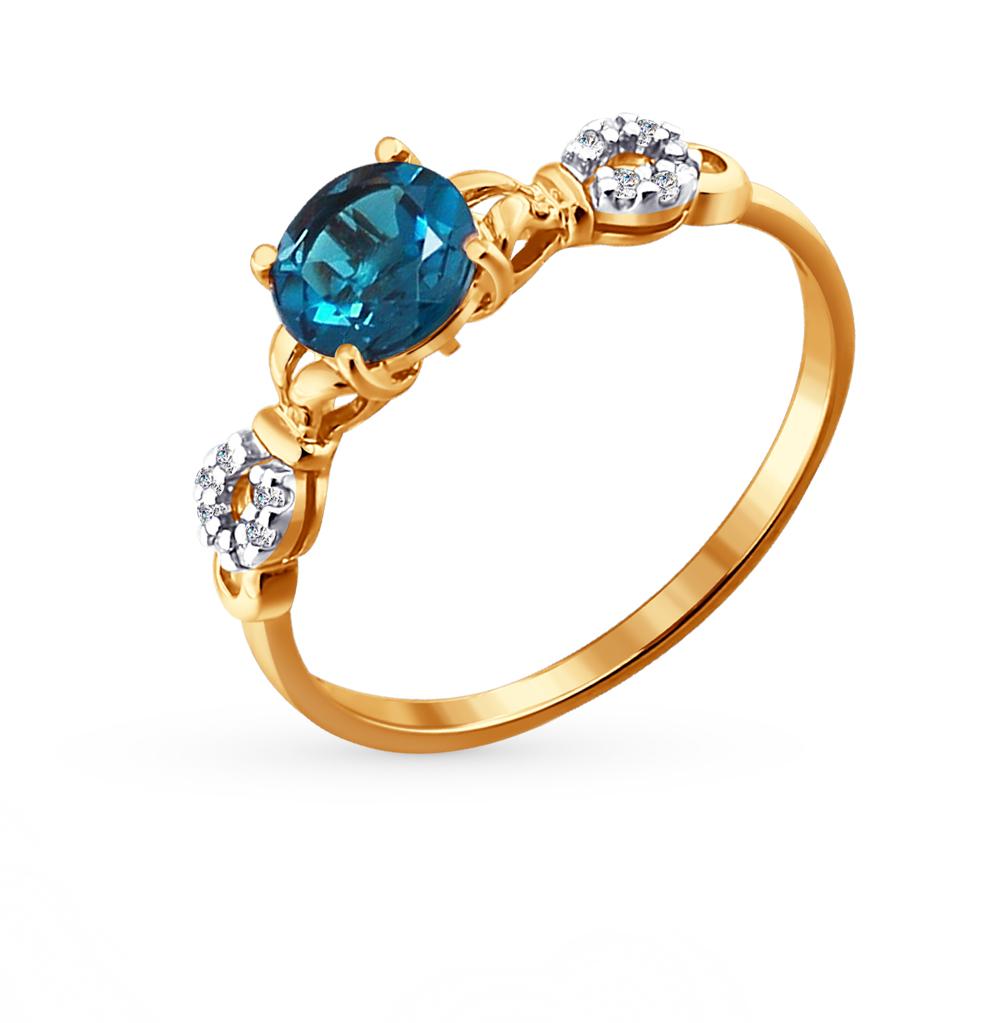 Фото «Золотое кольцо с топазами и фианитами SOKOLOV 713807*»