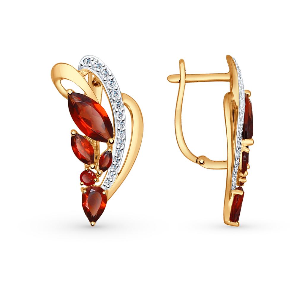 золотые серьги с фианитами и гранатом SOKOLOV 724682*