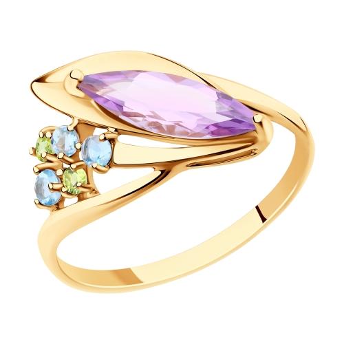 Фото «Золотое кольцо с хризолитом и аметистом SOKOLOV 715886»