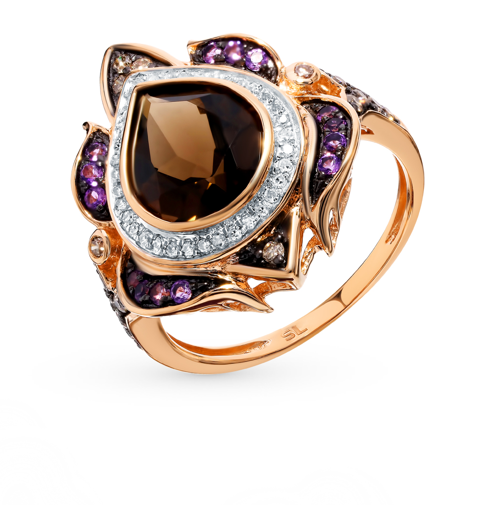 Фото «Золотое кольцо с коньячными бриллиантами, аметистами и раухтопазом»