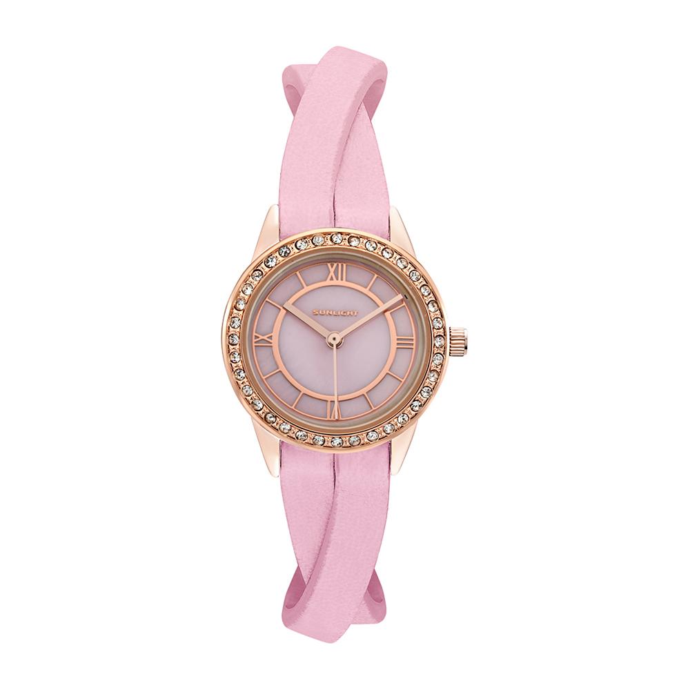 Фото «Женские часы с перламутром и кристаллами на кожаном ремне»