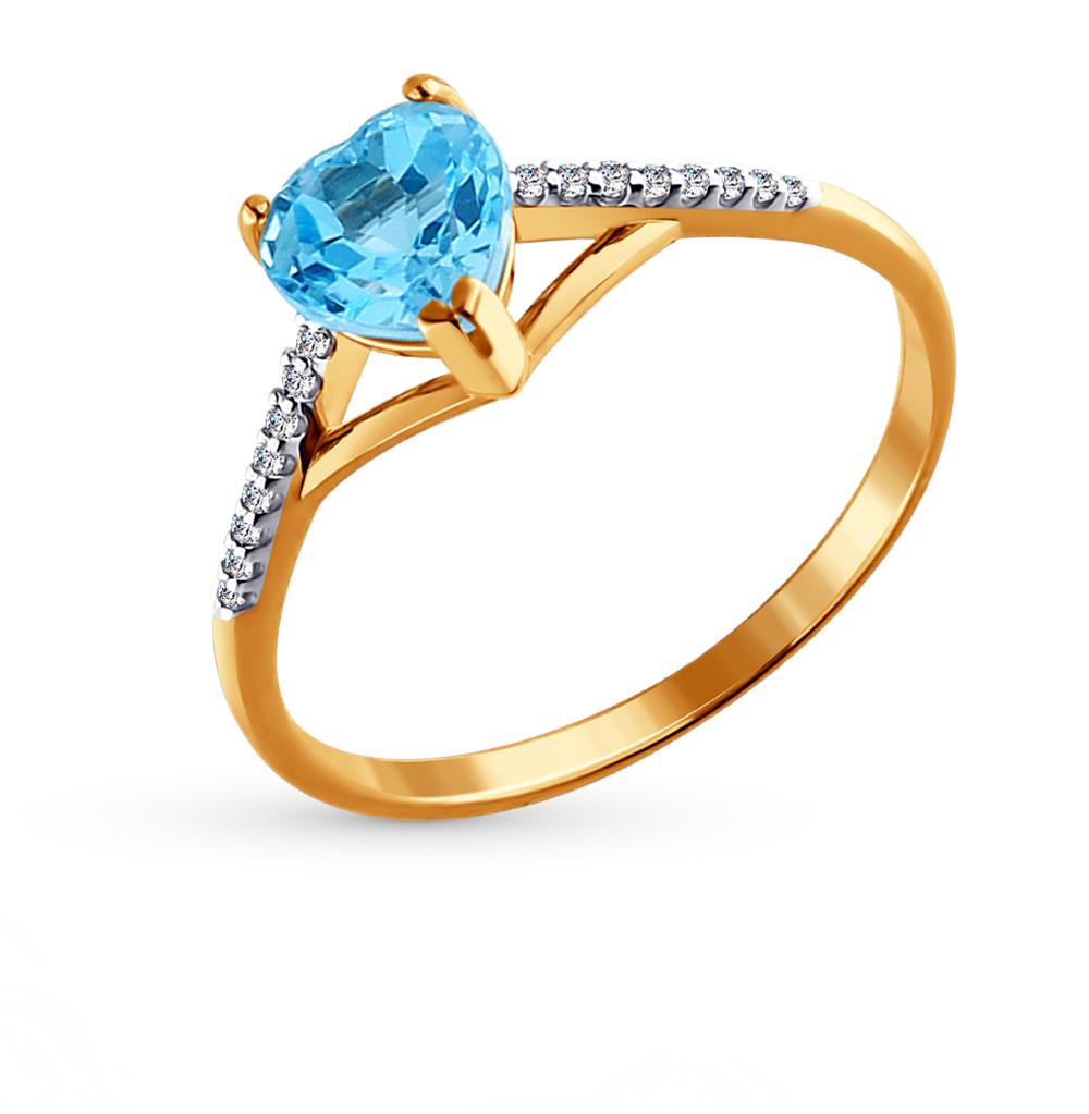 золотое кольцо с топазами и фианитами SOKOLOV 713832*