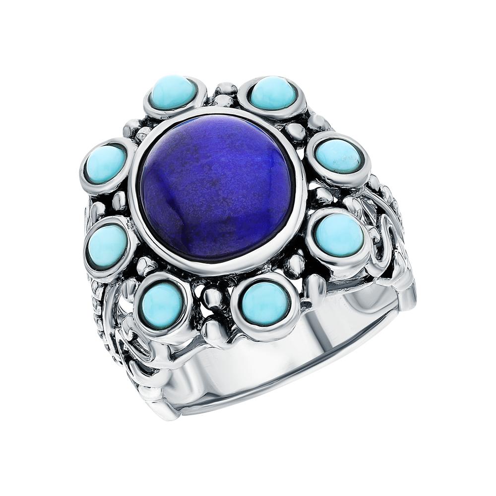 Фото «Серебряное кольцо с бирюзой и лазуритом»
