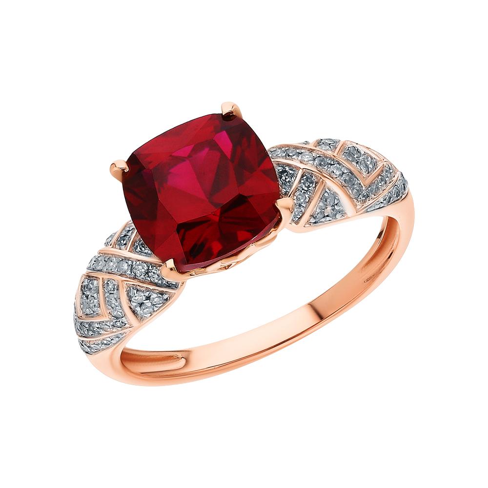 Золотое кольцо с рубинами синтетическими и бриллиантами в Санкт-Петербурге