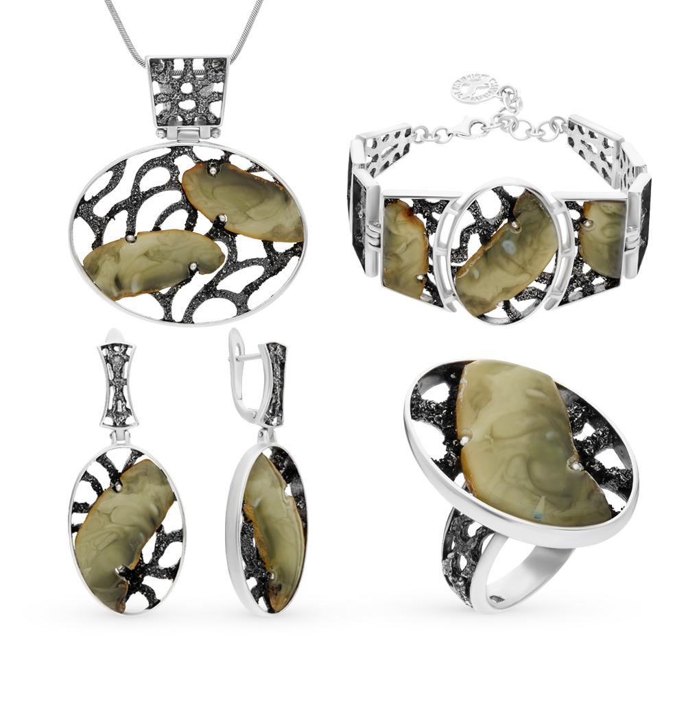 Фото «серебряный комплект с янтарем»