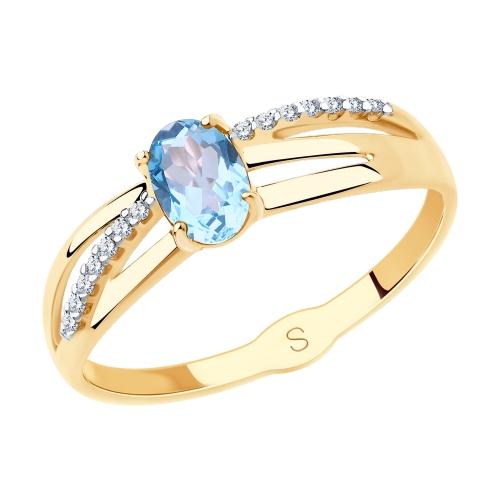 Фото «Золотое кольцо с топазом и фианитами SOKOLOV 715608*»