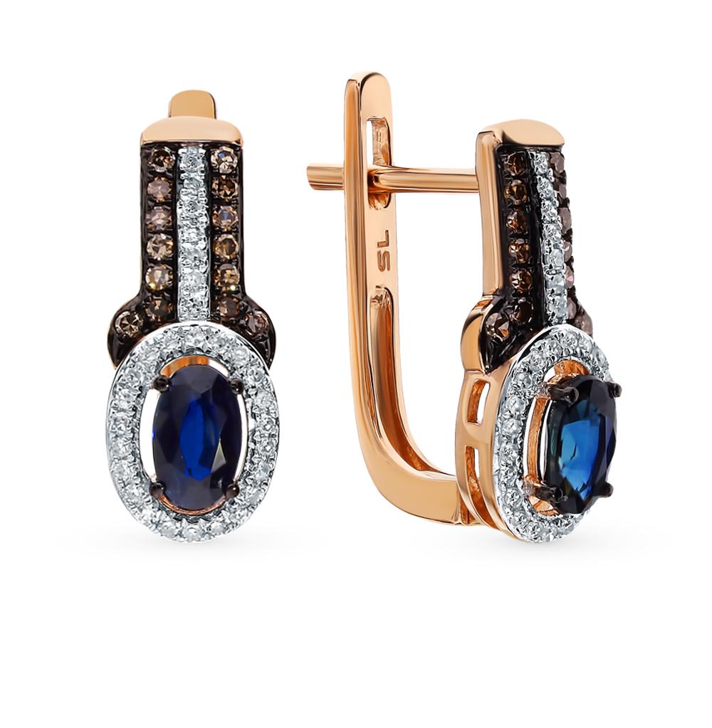 Золотые серьги с коньячными бриллиантами и сапфирами