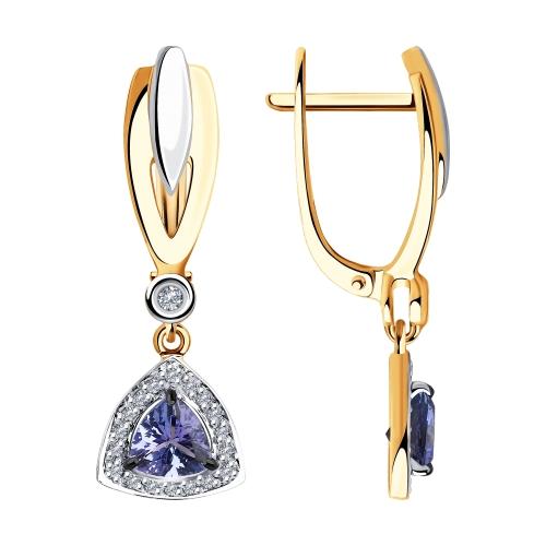 Фото «Золотые серьги с танзанитом и бриллиантами SOKOLOV 6024124»