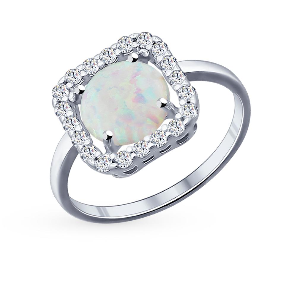 Фото «Серебряное кольцо с фианитами и опалами SOKOLOV 94011732»