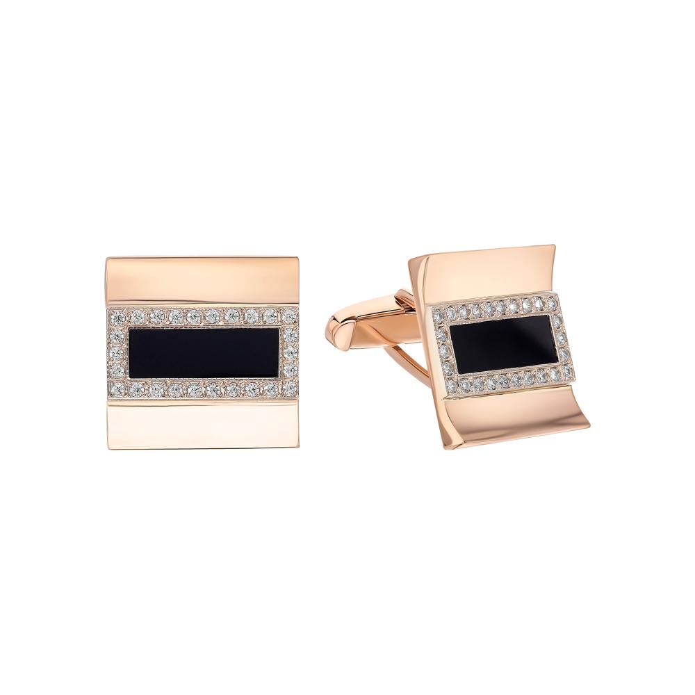 Фото «Золотые запонки с ониксом и кубическими циркониями»
