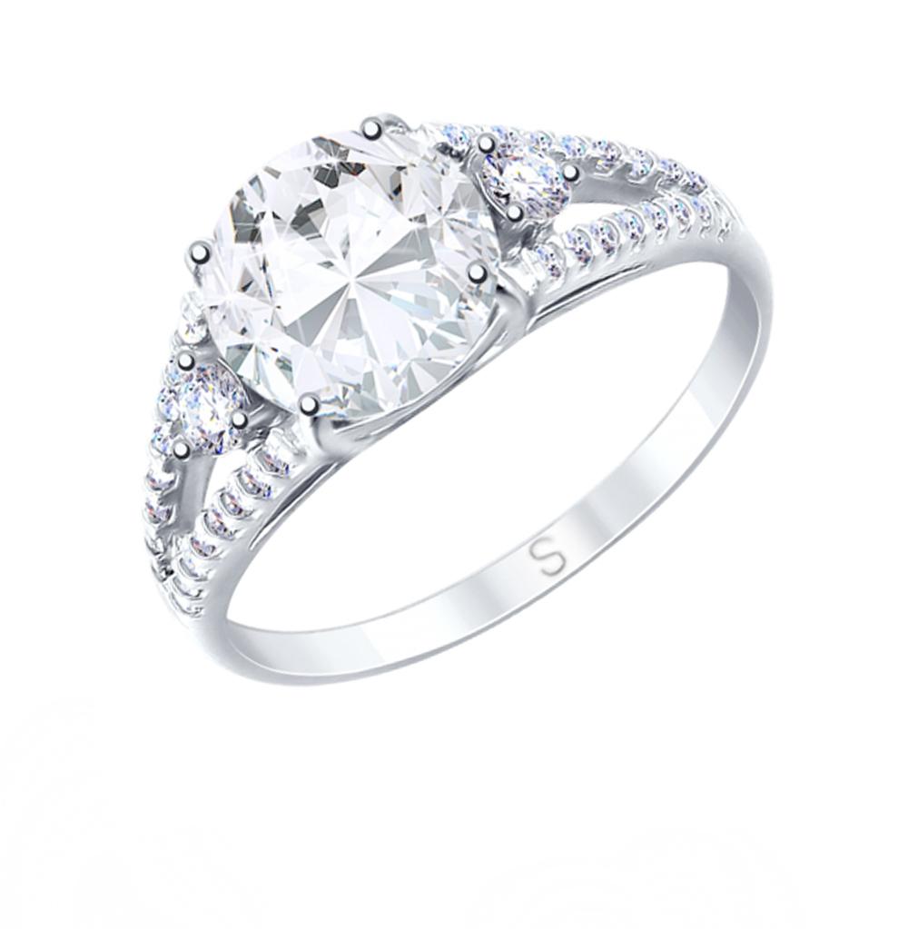 серебряное кольцо с горным хрусталем и фианитами SOKOLOV 92011747