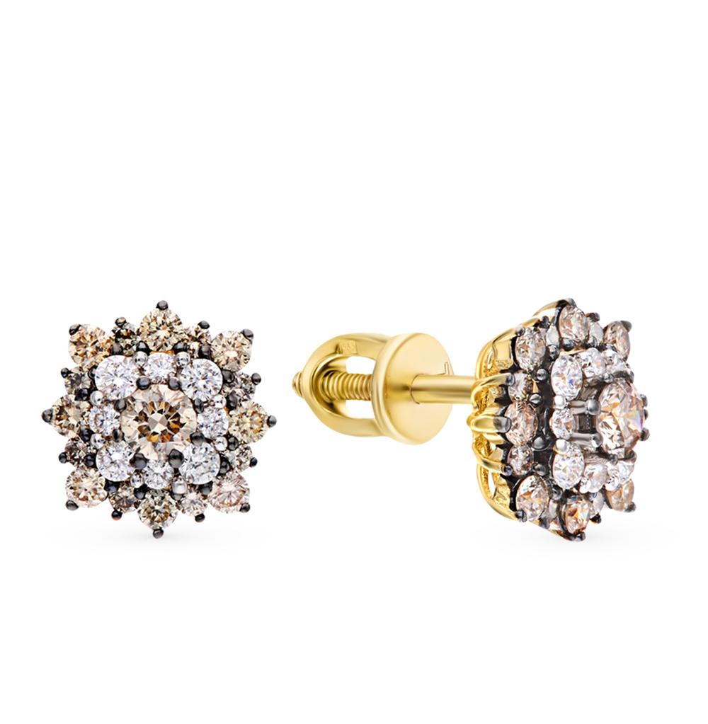 Золотые серьги с коньячными бриллиантами в Санкт-Петербурге