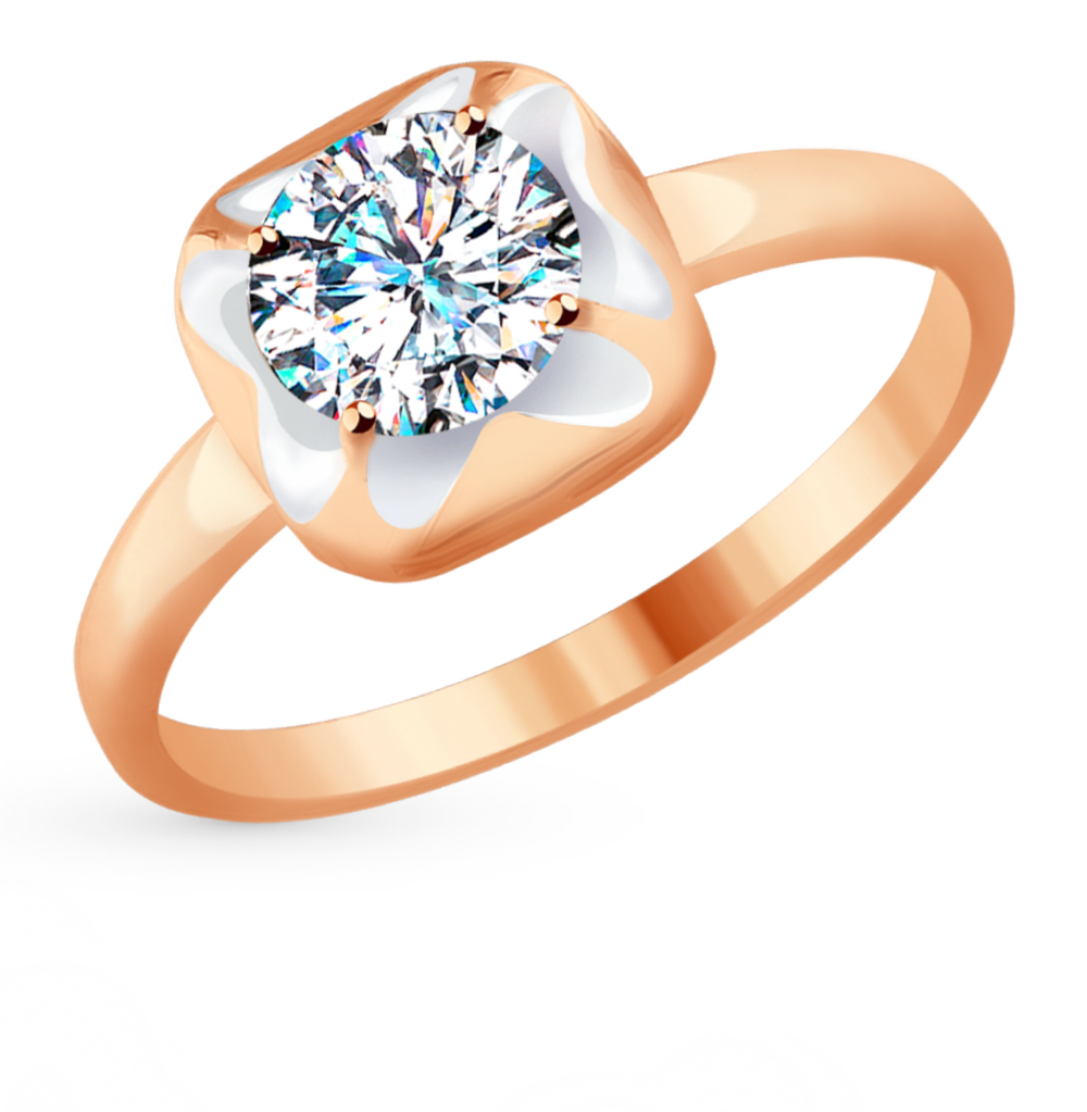 золотое кольцо с фианитами SOKOLOV 017624*