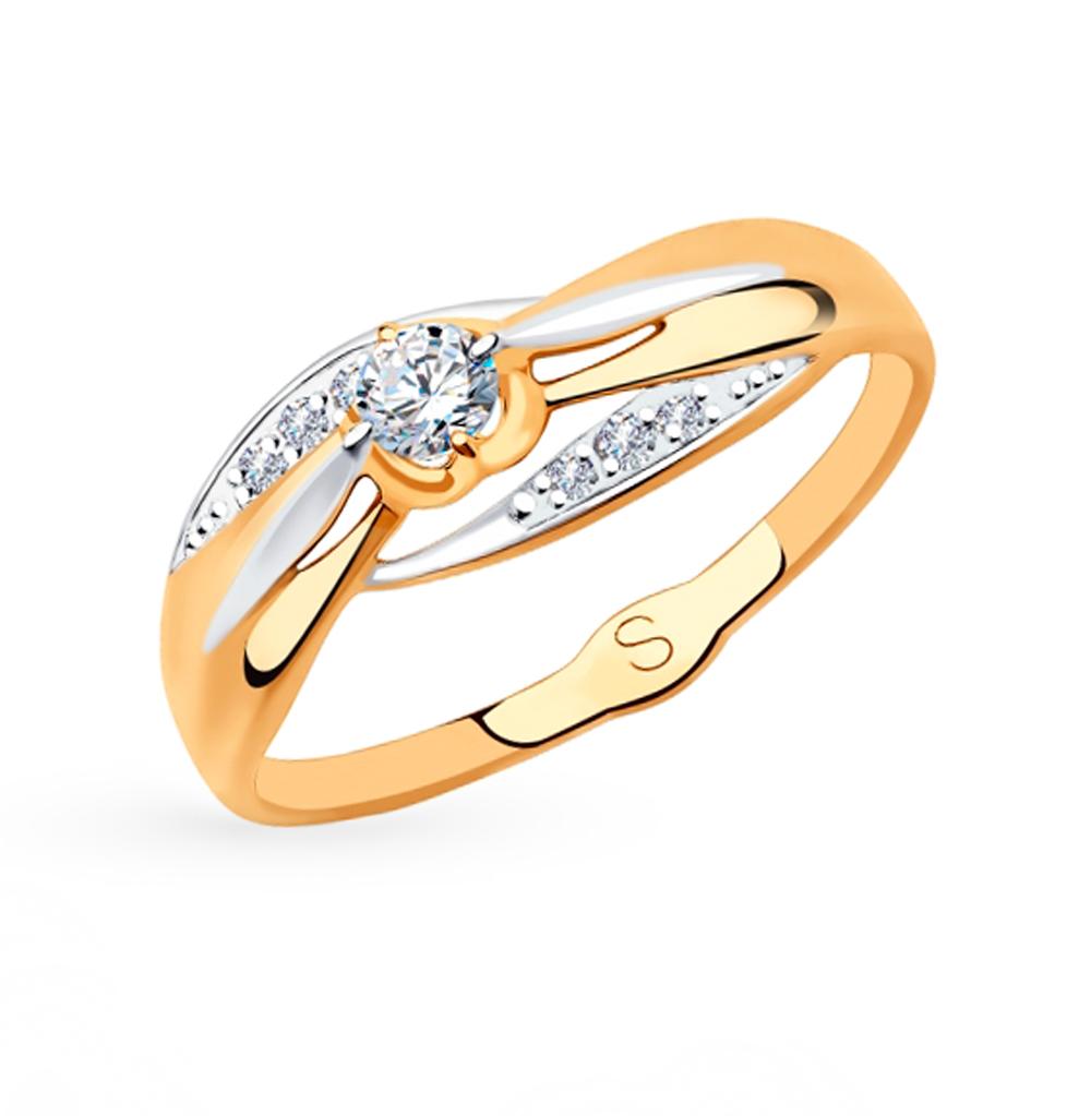золотое кольцо с фианитами SOKOLOV 018221
