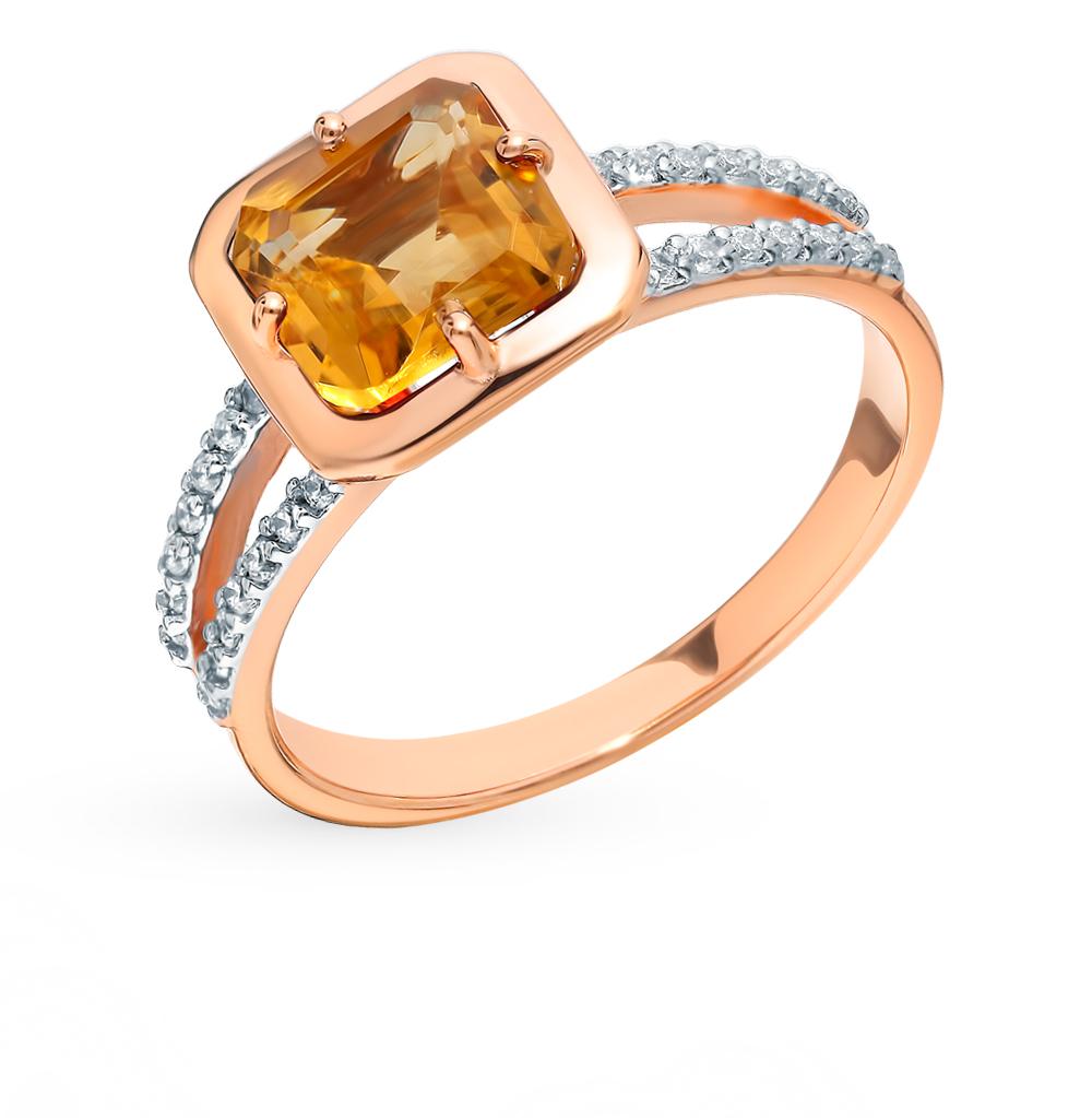 Фото «Золотое кольцо с фианитами и цитрином»