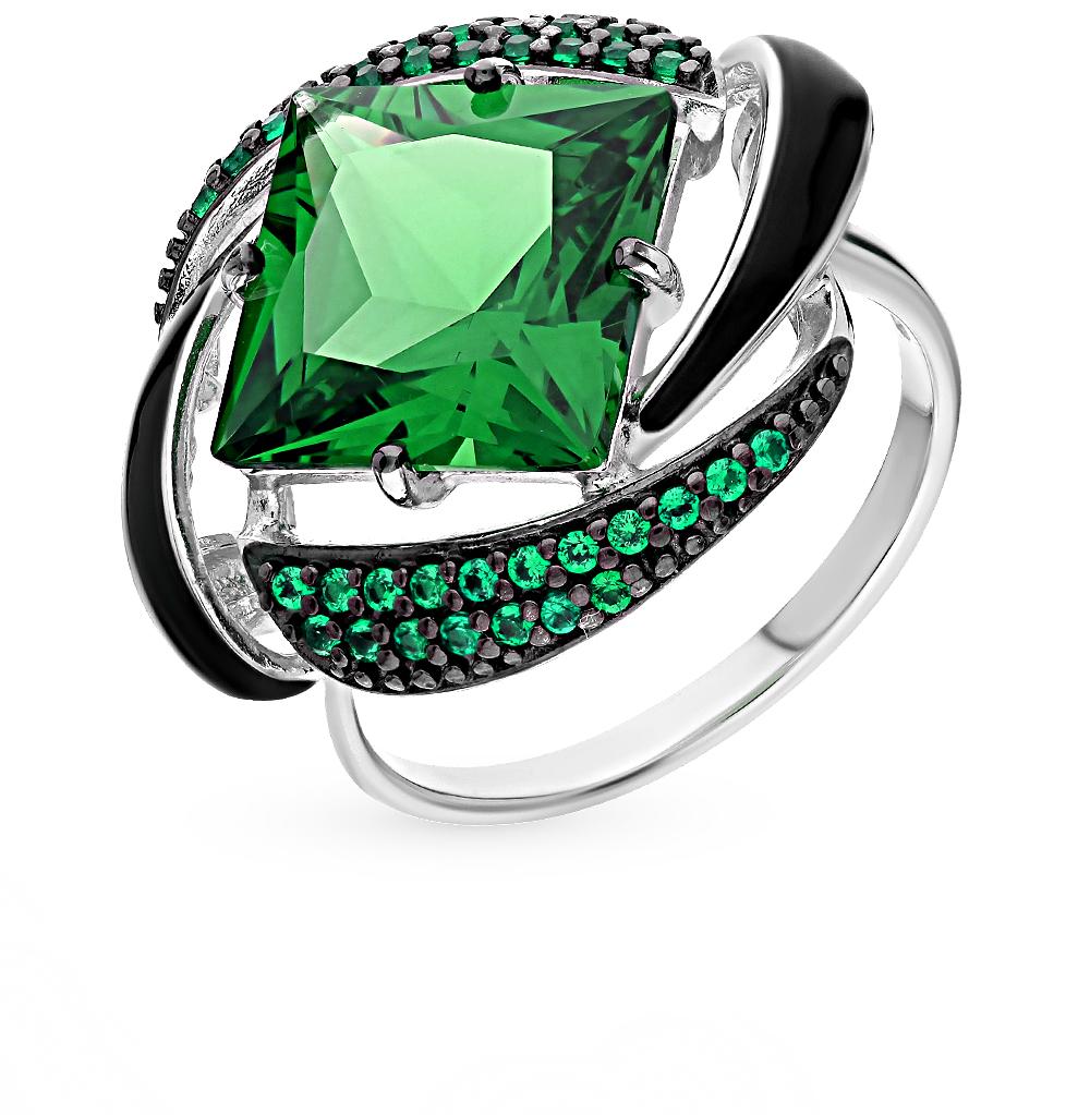 серебряное кольцо с наноситалами, фианитами и эмалью SOKOLOV 92011302