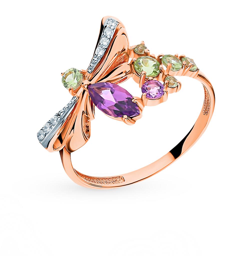 Золотое кольцо с хризолитом, аметистом и фианитами в Екатеринбурге