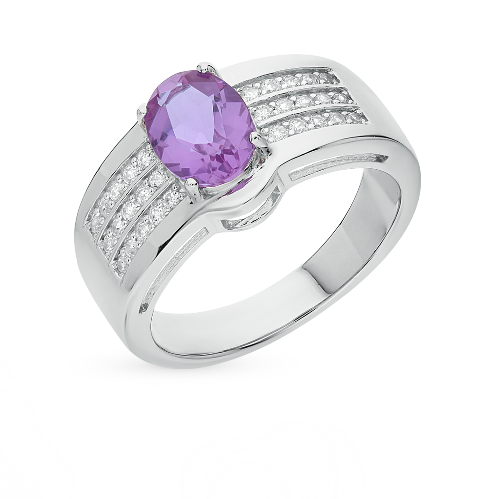 Фото «серебряное кольцо с алекситом и фианитами»