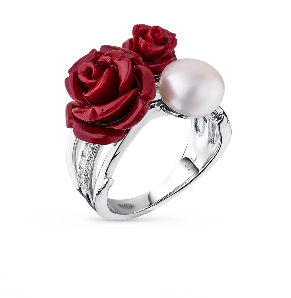 Фото «серебряное кольцо с фианитами, кораллом и жемчугом»