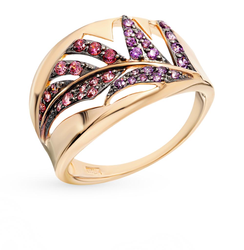 золотое кольцо с фианитами SOKOLOV 017409*
