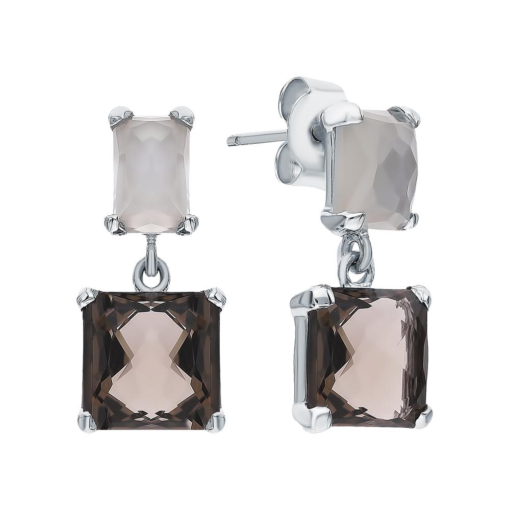 Фото «Серебряные серьги с кварцами дымчатыми и лунными камнями»
