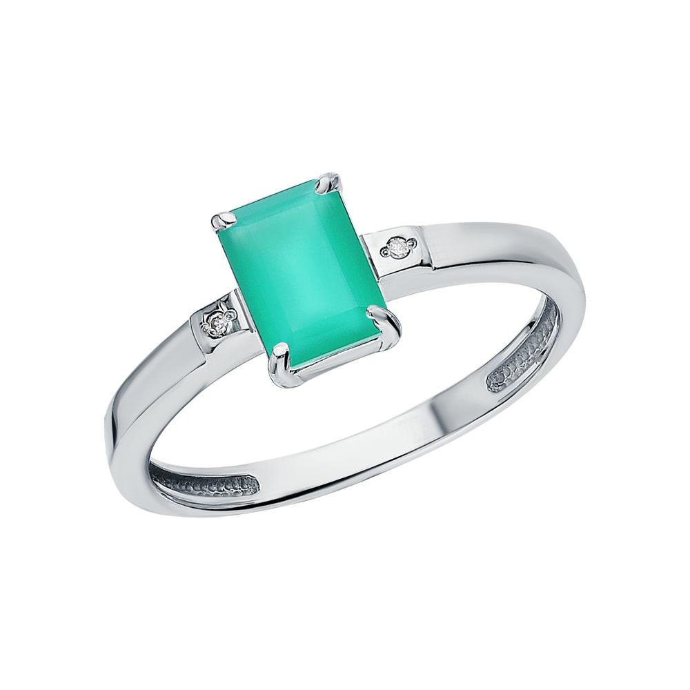 Серебряное кольцо с агатом и бриллиантами в Санкт-Петербурге