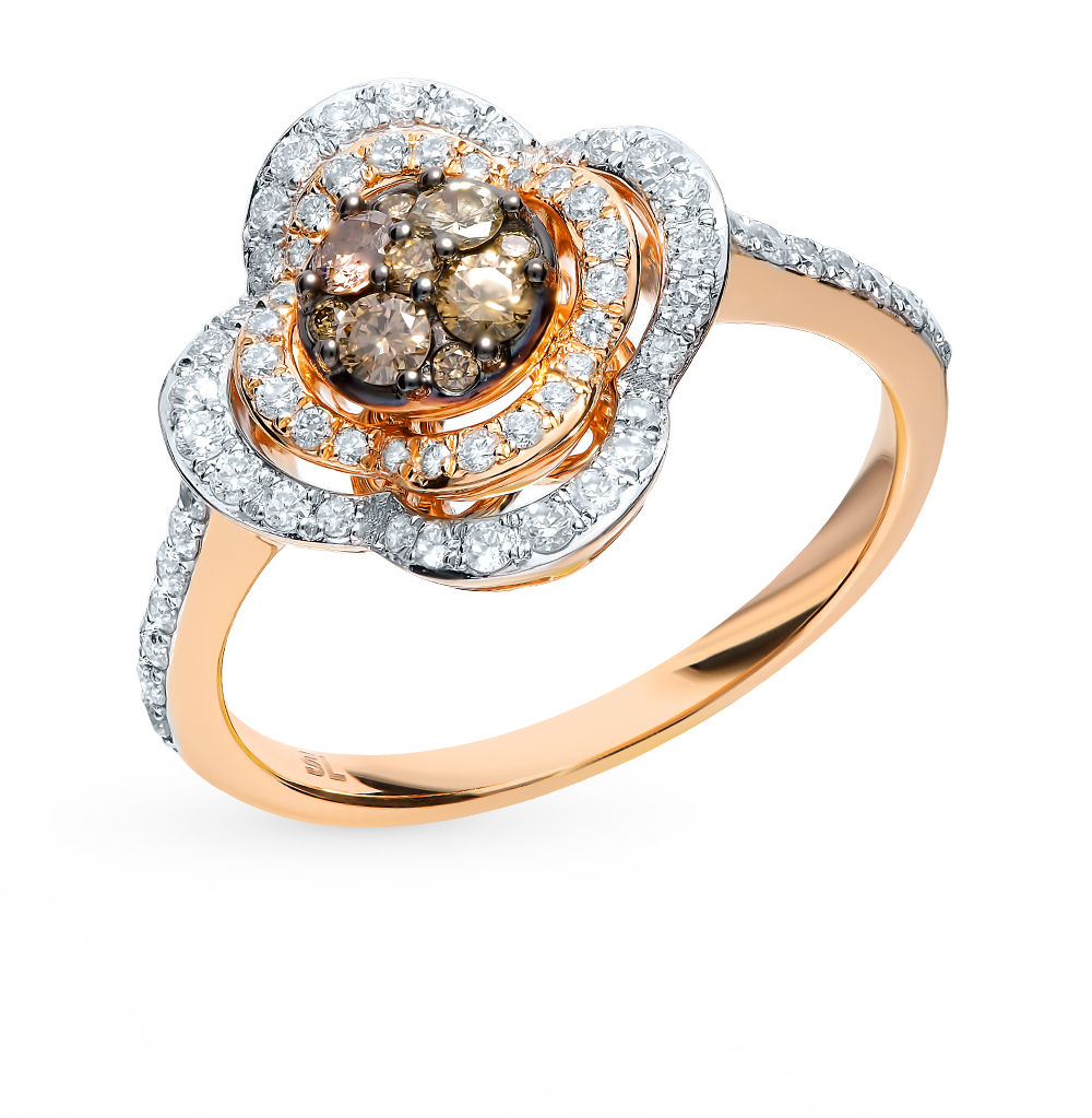 Золотое кольцо с коньячными бриллиантами в Екатеринбурге