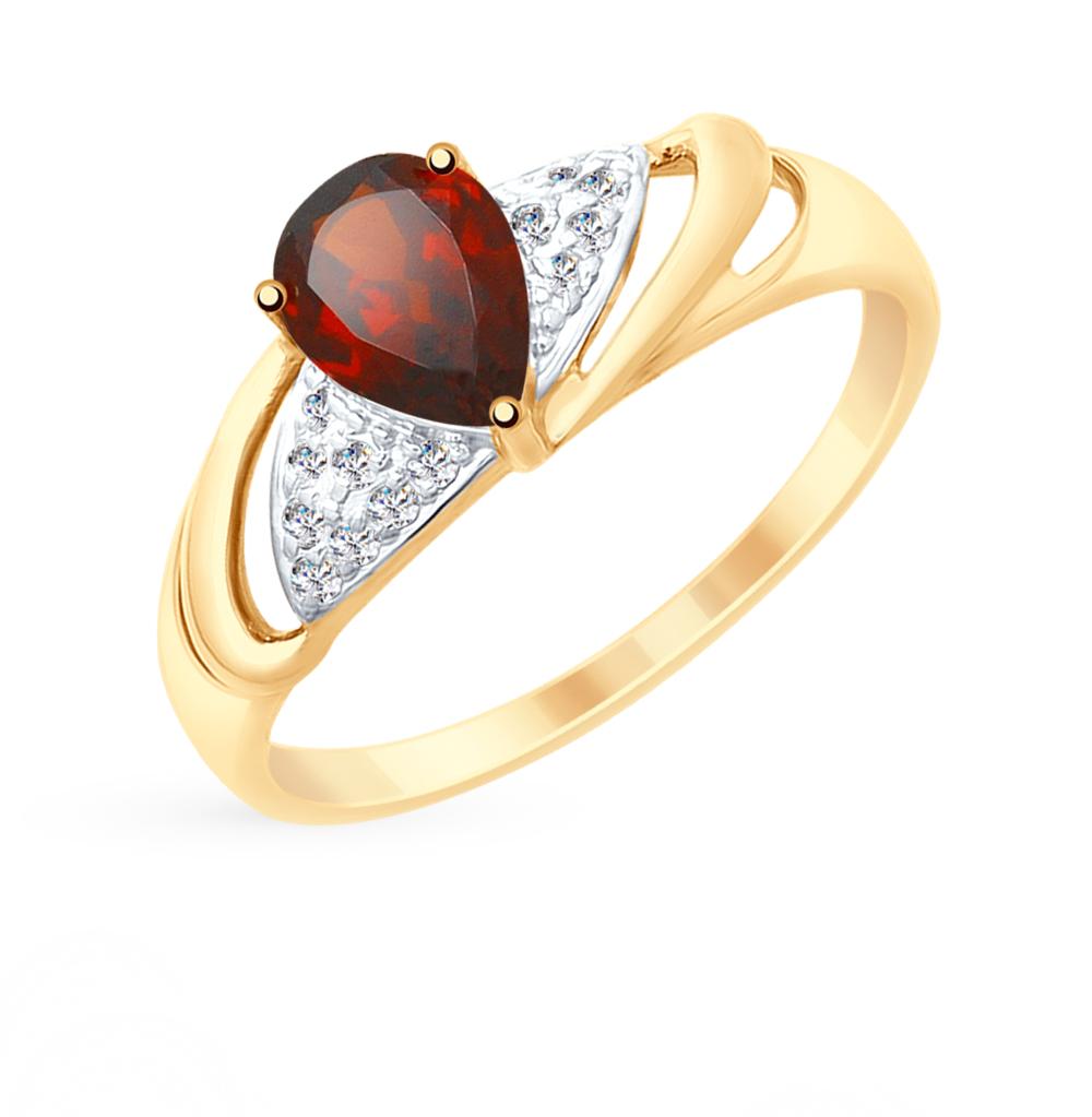 Фото «Золотое кольцо с фианитами и гранатом SOKOLOV 715247»