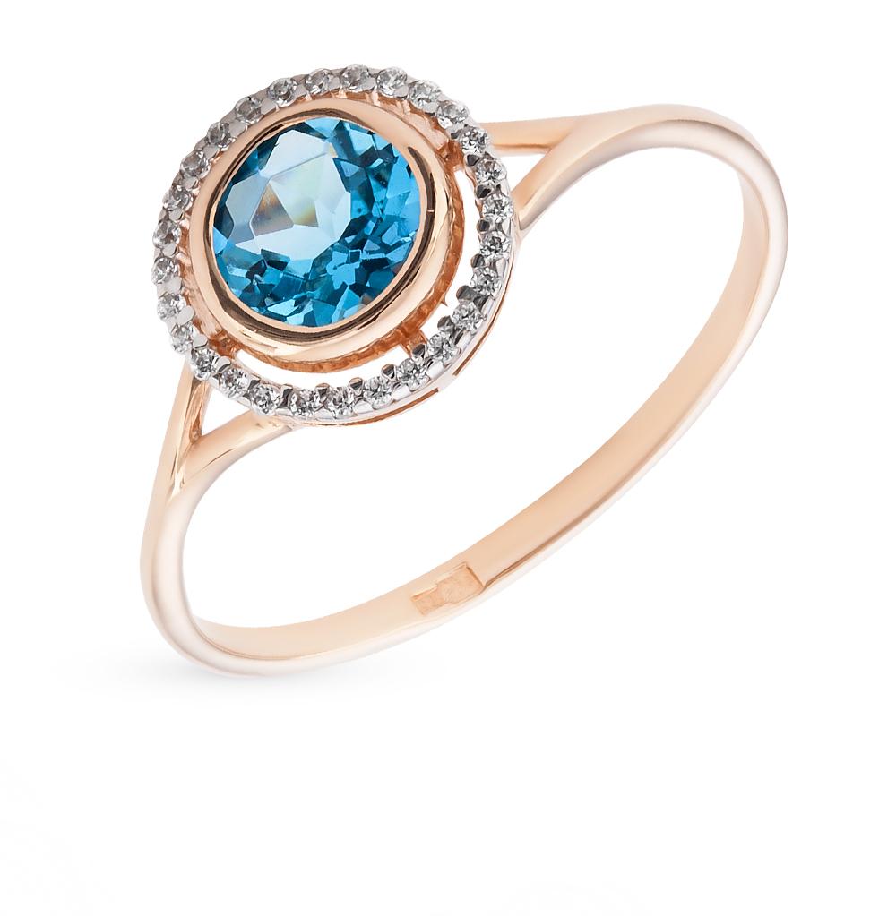 Фото «Золотое кольцо с топазами и фианитами SOKOLOV 712601*»
