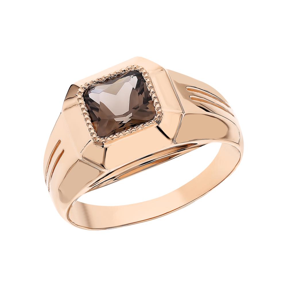 Золотое кольцо с кварцами дымчатыми в Екатеринбурге