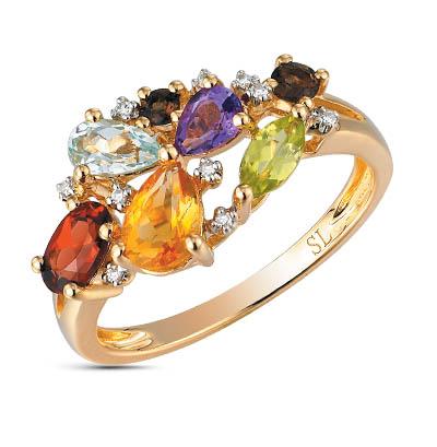 Фото «золотое кольцо с аметистом, гранатом, цитринами, топазами, хризолитом, раухтопазами (кварцами дымчатый) и бриллиантами»