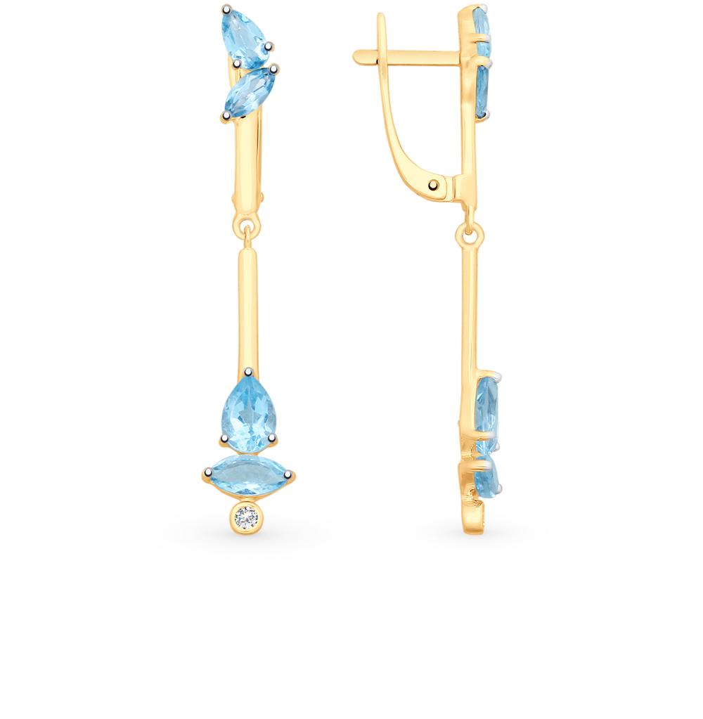 Золотые серьги с топазами и фианитами SOKOLOV 725551* в Екатеринбурге