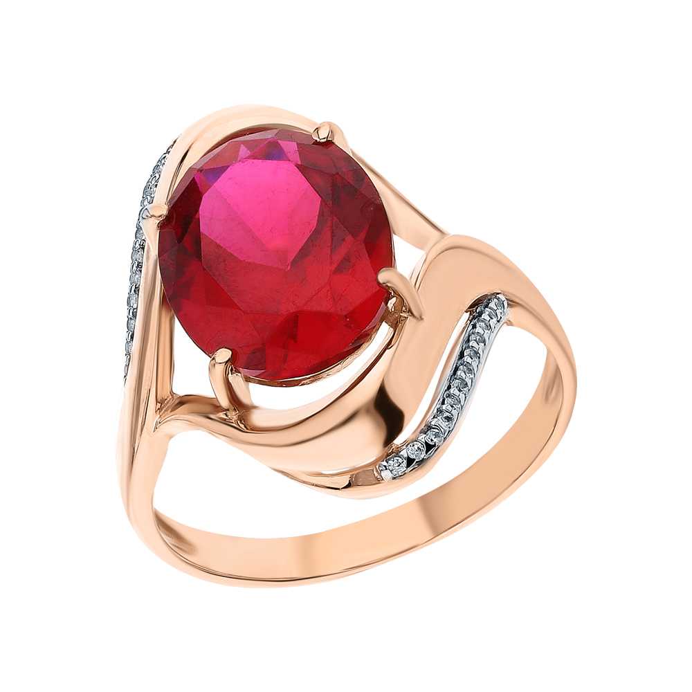 Фото «Золотое кольцо с рубинами и фианитами»