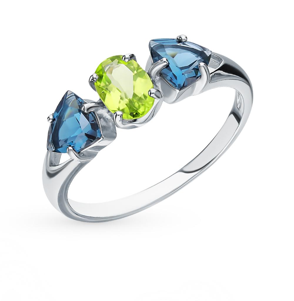 Фото «Серебряное кольцо с хризолитом и топазами SOKOLOV 92011588»
