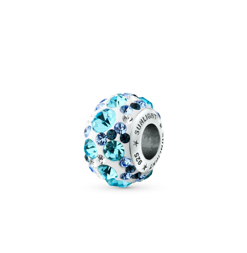 серебряная подвеска - шарм с кристаллами