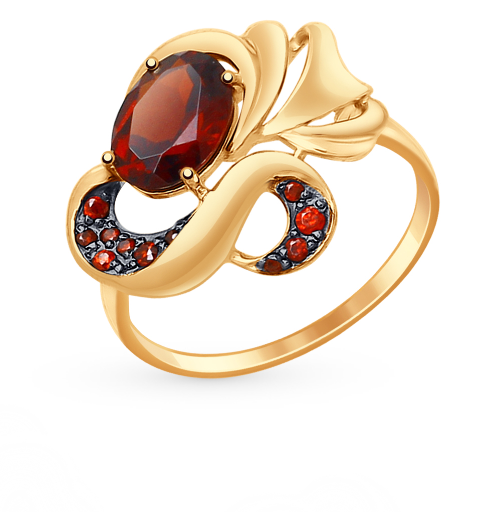 золотое кольцо с фианитами и гранатом SOKOLOV 714790*