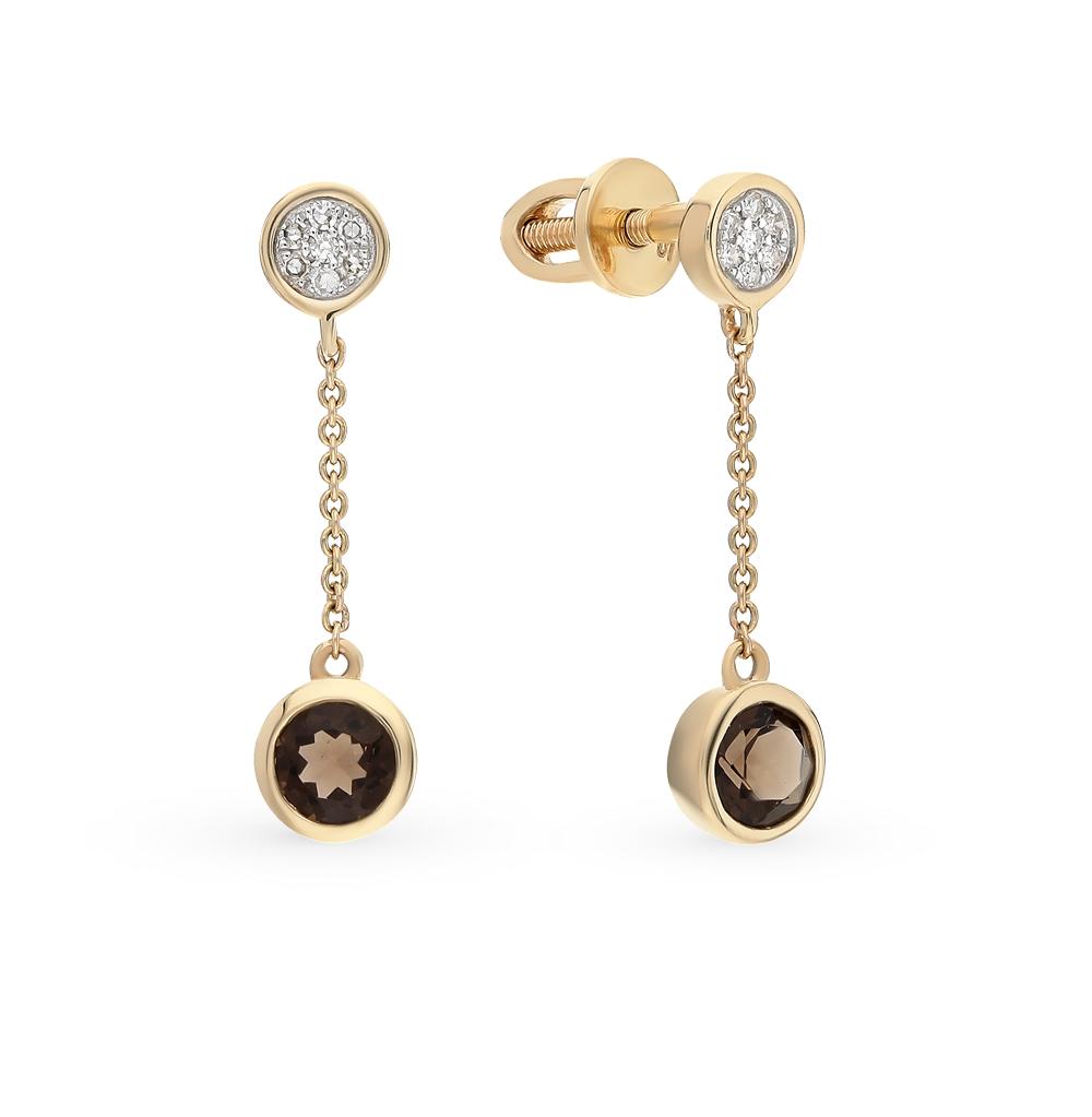 золотые серьги с раухтопазами и бриллиантами