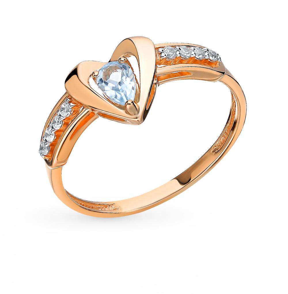 золотое кольцо с топазами и фианитами