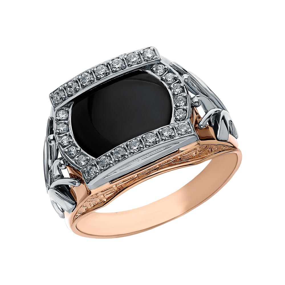 Фото «Золотое кольцо с ониксом и кубическими циркониями»