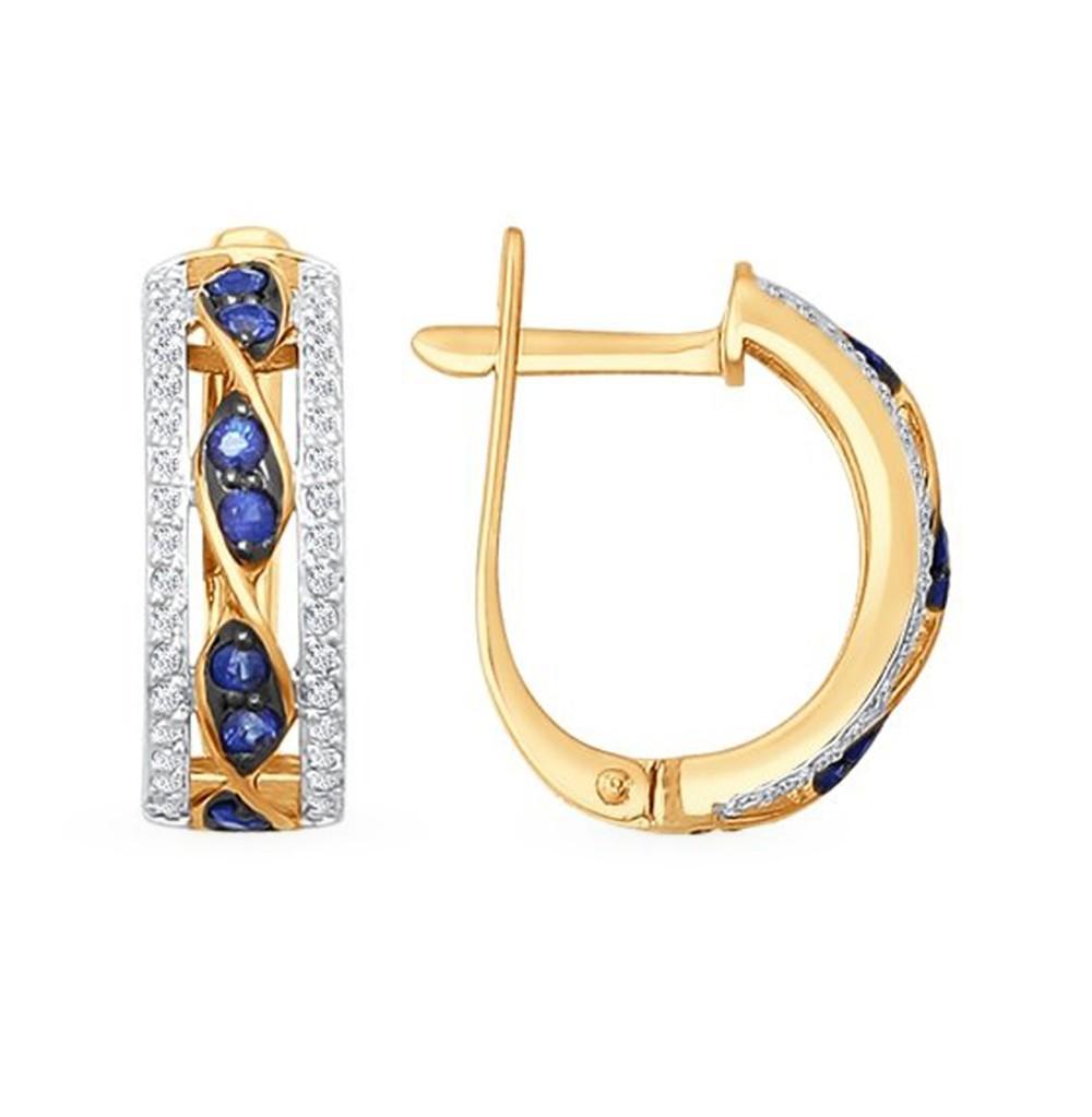 Фото «Золотые серьги с сапфирами и бриллиантами SOKOLOV 2020821»
