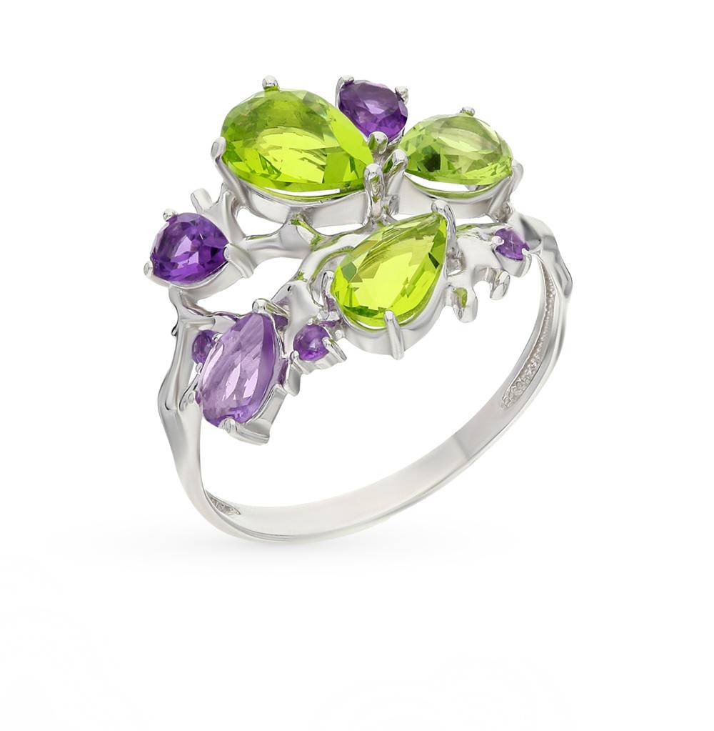 Фото «серебряное кольцо с аметистом и хризолитами синтетическими»