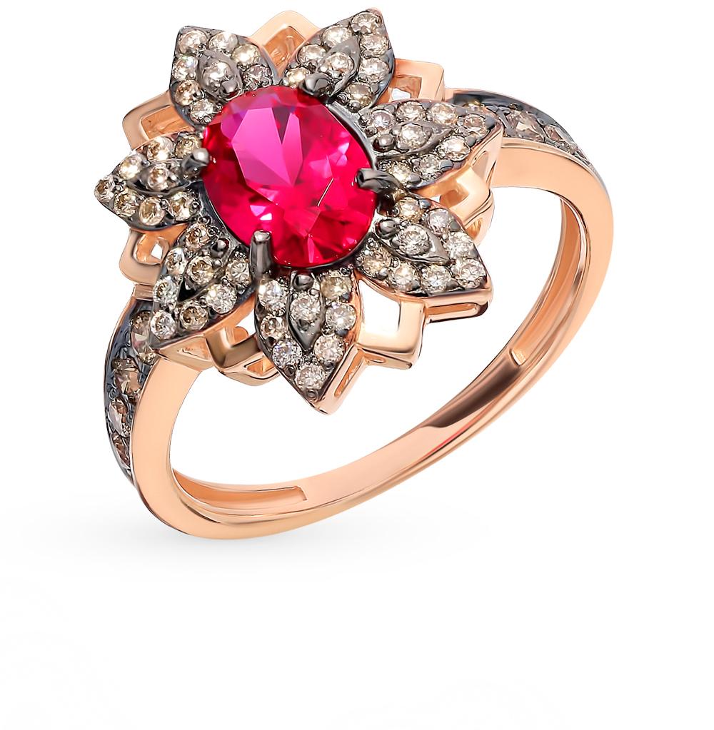 Золотое кольцо с коньячными бриллиантами и рубином в Санкт-Петербурге