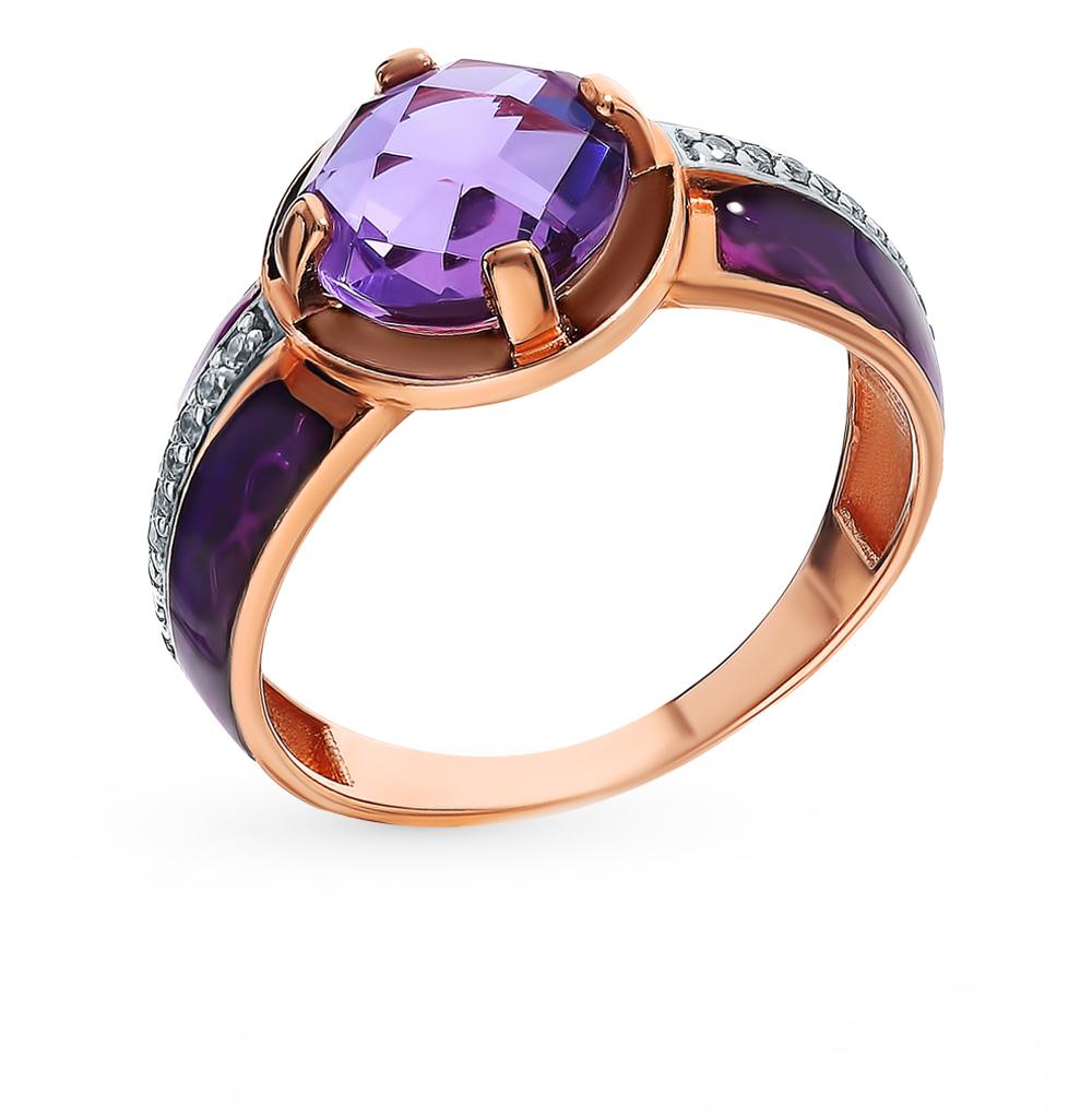 серебряное кольцо с алекситом, фианитами и эмалью