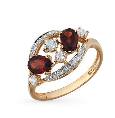 золотое кольцо с топазами, гранатом и бриллиантами