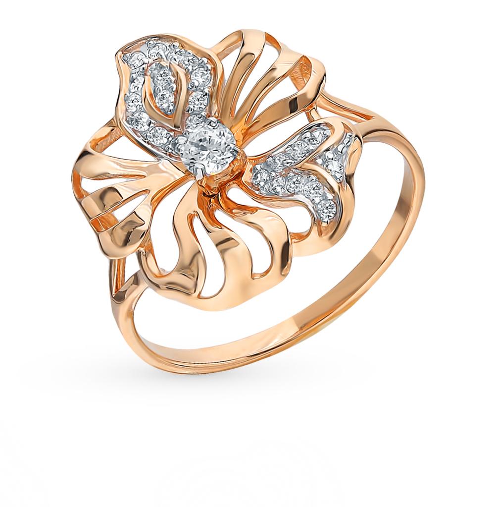 золотое кольцо с фианитами SOKOLOV 8-010014*