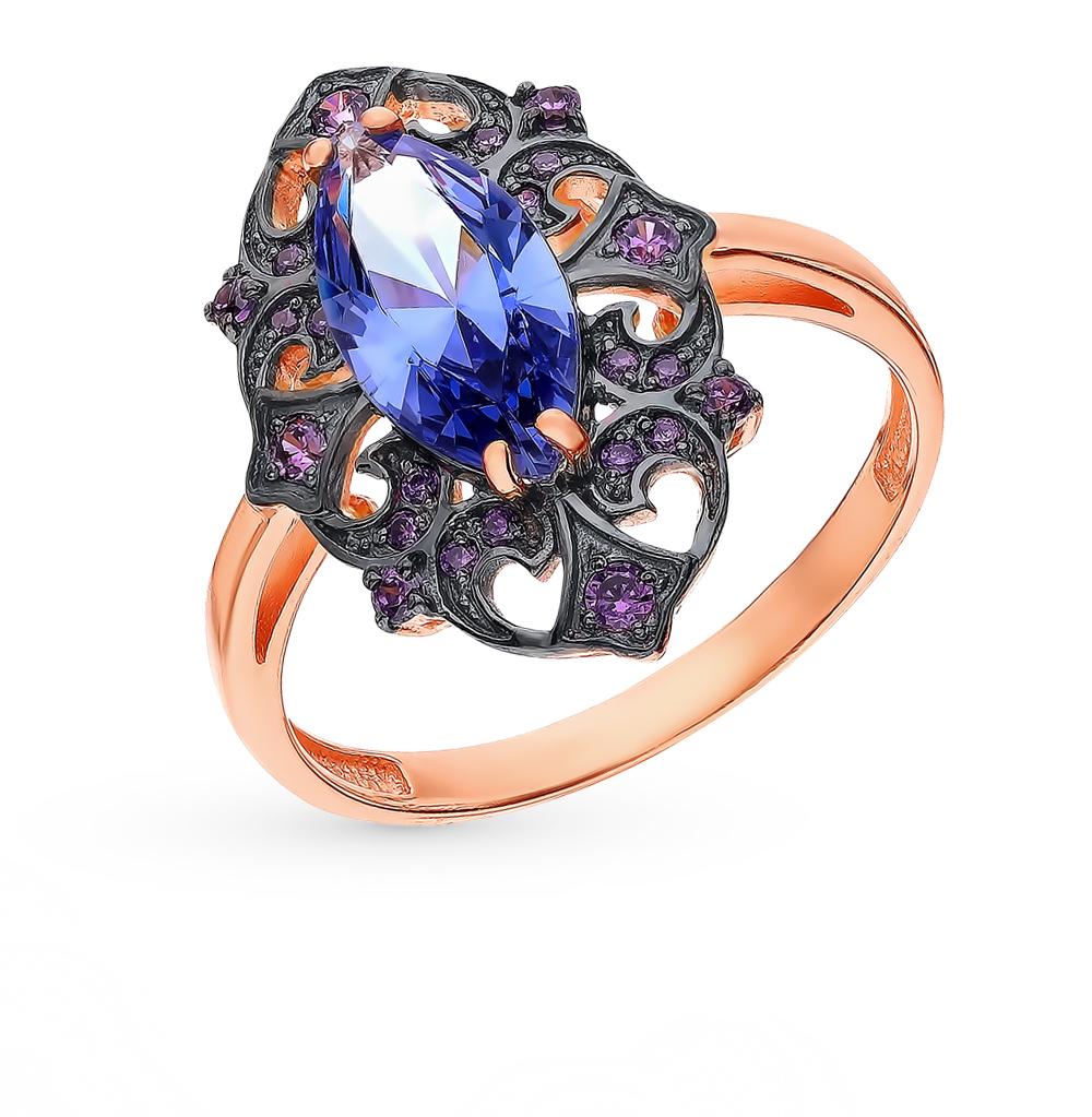 Золотое кольцо с танзанитом и фианитами в Санкт-Петербурге