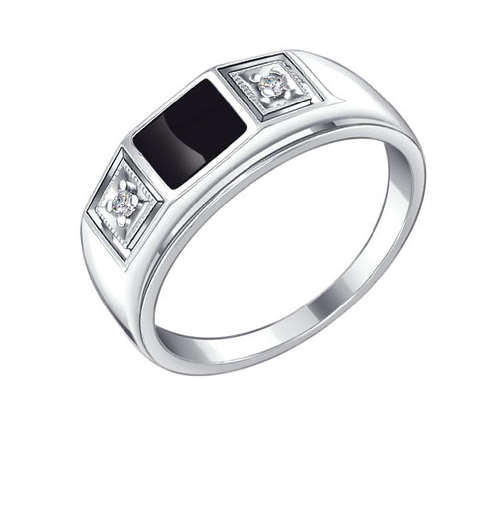 Фото «Серебряное кольцо с фианитами и эмалью SOKOLOV 94010437»